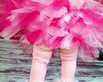 "Ballet Pink Bunny Legs Girls Ruffle Tutu Leg Warmers - Perfect for crawling baby 6m to girls 6X approx 12"" long"