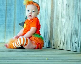 """Orange stripe girls ruffle tutu leg warmers - Perfect for baby 6m to girls 6X approx 10"""" long"""