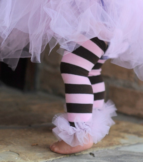 Pink-Brown striped Bunny Legs Girls Ruffled Tutu Leg Warmers - perfect for crawling babys 6m to girls 6X