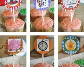 DIGITAL Alice in Wonderland Party Circles or Cupcake Toppers - Bright and Colorful