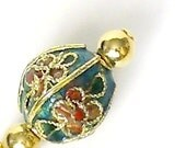 Cloisonne' Earrings /Gold Oriental Asian Themed