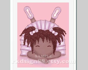 African nursery art print, baby girl nursery decor, art for kids wall art, girl room decor, cute ballerina art, tutu - I'm So Cute 8 x 10