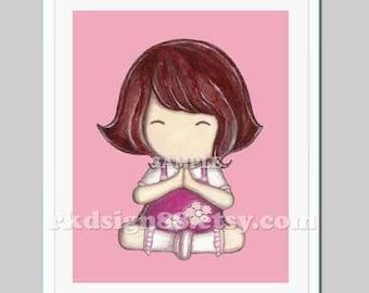 Girl room decor, art for nursery wall art, nursery art, toddler art, girl art print, girl painting, brown hair, pink - Thank You 8 x 10