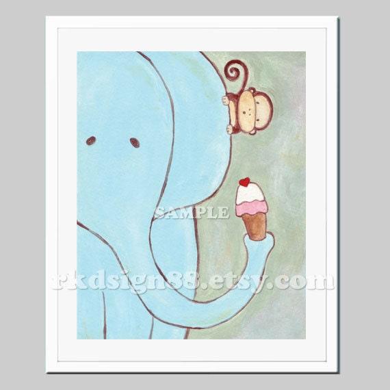 Baby shower nursery art, children's wall art, boy baby nursery decor, whimsical elephant, monkey, ice cream illustration, Sharing  8x10