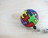 Autism Awareness Retractable Badge Holder Badge Reel - Rainbow Puzzle Pieces