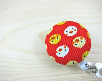 Retractable ID Badge Holder / Badge Reel (Clip-on) - Ducks on Red Japanese Fabric