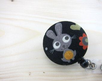 Retractable Badge Reel / ID Badge Holder - Cute Grey Bunny
