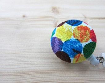Retractable ID Badge Holder / Badge Reel (Clip-on) - Rainbow Dots