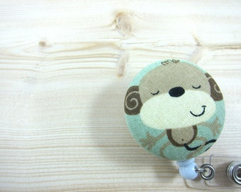 Retractable ID Badge Holder / Badge Reel  - Peaceful Monkey