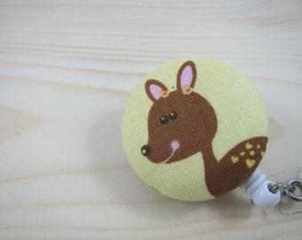 Badge ID Holder Retractable Badge Reel Lanyard - Deer
