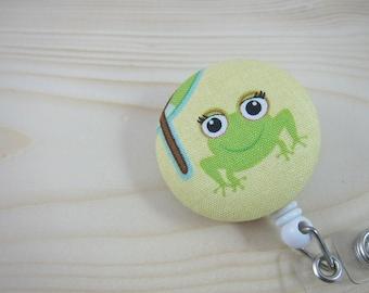 Badge ID Holder Retractable Badge Reel - Cute Frog