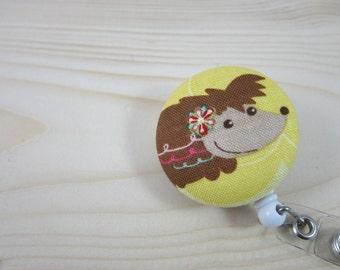 Cute Badge ID Holder Retractable Badge Reel  - Sweet Hedgehog