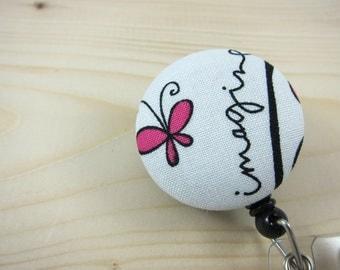 Retractable Badge Holder - ID Badge Reel (Great Gift for Teachers Nurses etc) - Imagine