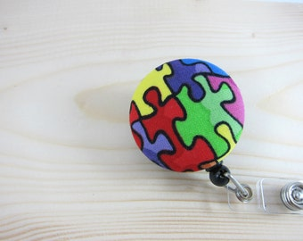 Autism Awareness Retractable Badge Holder Badge Reel - Rainbow Puzzle Pieces