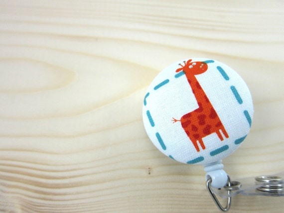 Retractable Badge Holder Badge Reel - Cute Giraffe