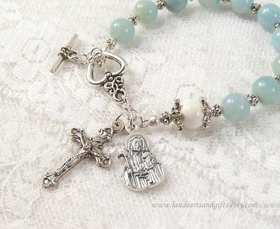 Good Shepherd Rosary Bracelet Chaplet Prayer Beads Amazonite Blue