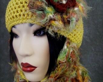 Accessory,OOAK,Yellow Crochet Hat,Crochet Scarf,Crochet Flower,Women,Skull Cap,Skinny Scarf,Scarf Set,Brown,