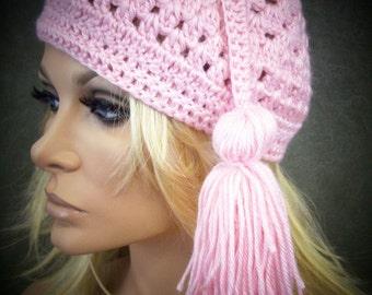 Pink Crochet Hat, Tassel Hat, Crochet Skull Cap, Chemo Cap,Crochet Beanie, Cotton Hat, Women, Accessory,Spring,Summer