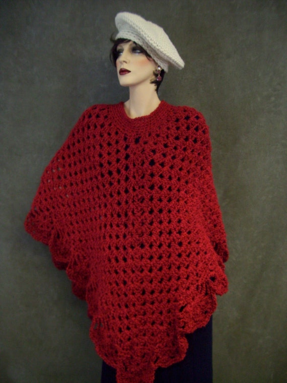 Candy Apple Red Crochet Poncho/ One Size Fits Most /Ready to be Shipped