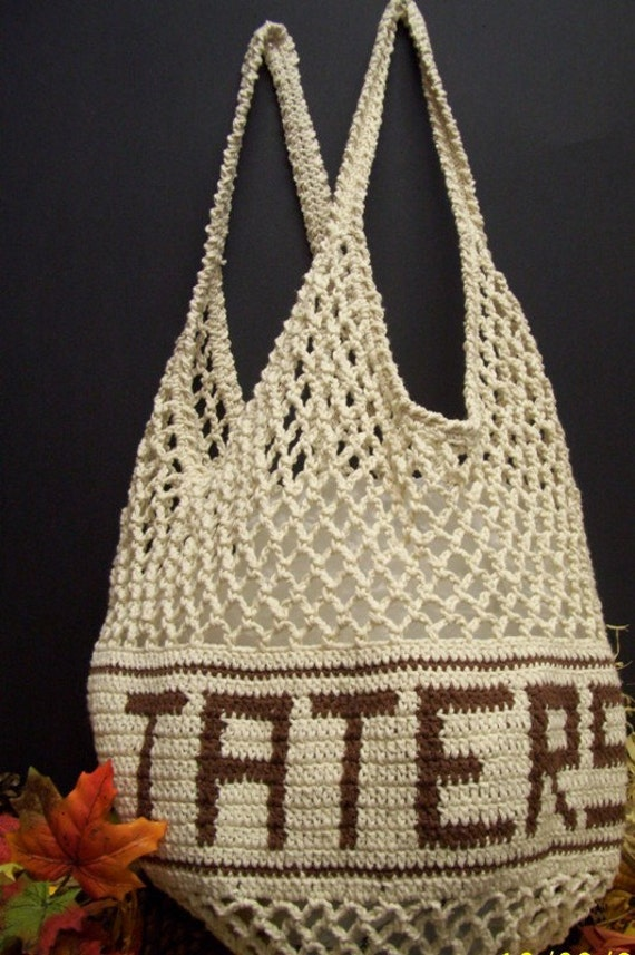 Crochet Vegetable Bag Pattern : BIG Crochet Potato Keeper Bag Grocery Bag by UniquelyEwe ...