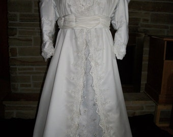 Custom made Ever After Wedding gown Rennaissance Bridal with beaded lace and train