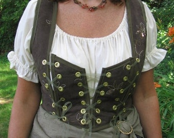 Custom made 4pc Renaissance tavern wench gypsy corset skirt and overskirt costume