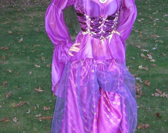 Custom Made 3pc Renaissance Fairy Gypsy Wench maiden dress skirt corset with boning