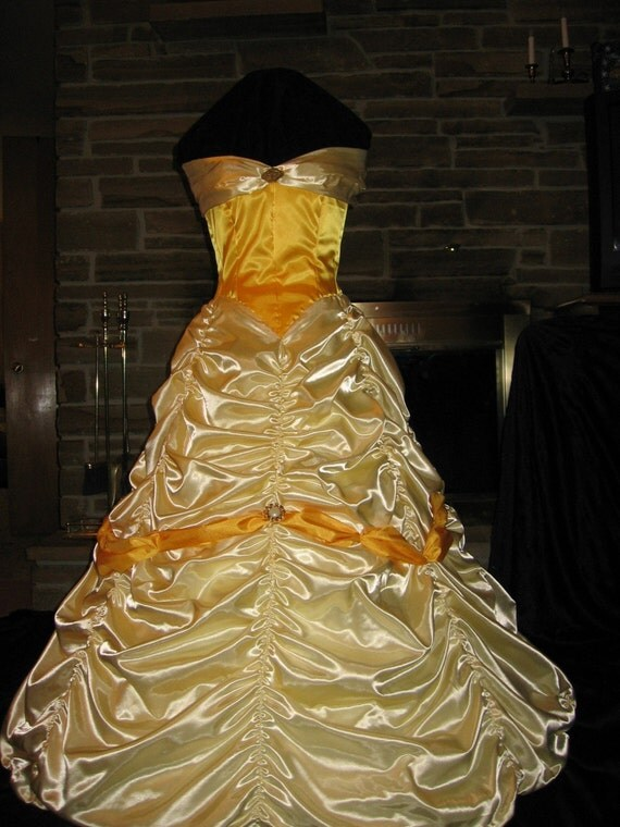 Custom Made Beauty and the Beast Belle Golden Yellow Princess Satin Ladies or girls Boned Corset Dress Gown