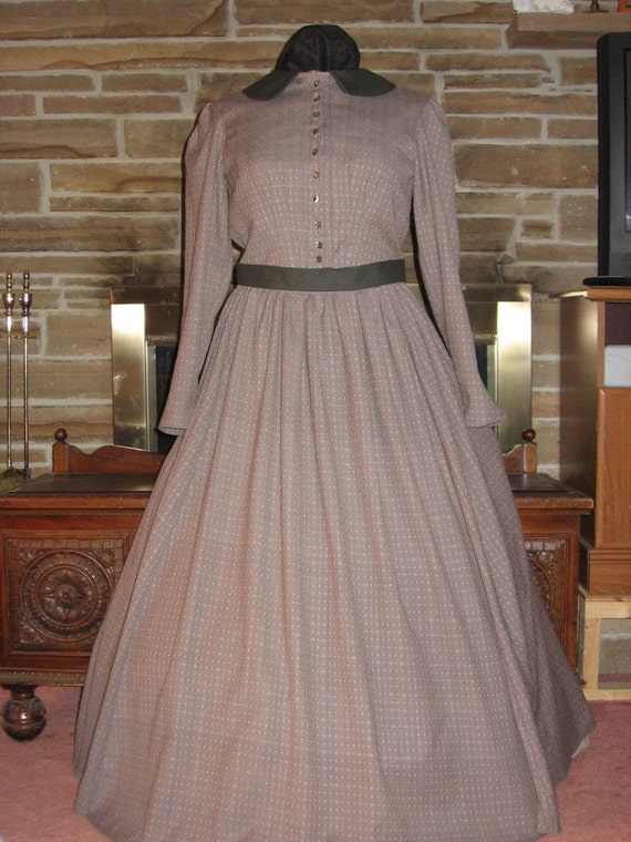 Custom made Colonial Civil War Prairie Western Dickens 3 piece costume dress skirt top and sash
