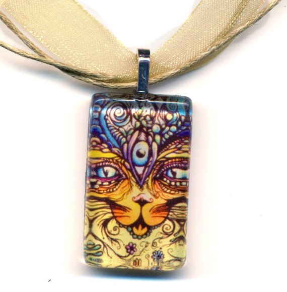 Cat Goddess Bast art pendant