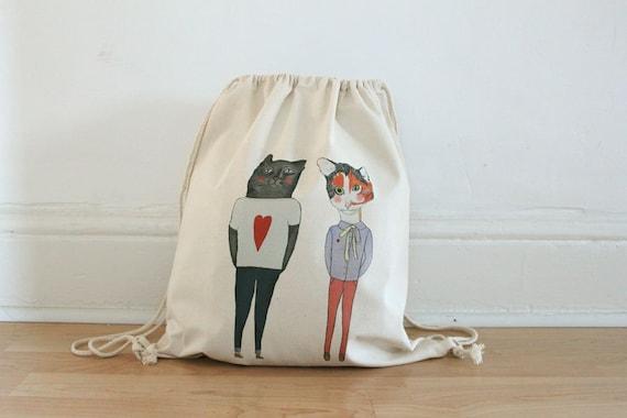 Love kitties drawstring bag