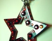 Giant RED Zebra STAR Resin & Crystals Art Pendant Necklace BLING