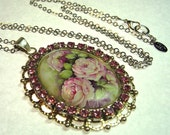 Pink Cabbage Roses Porcelain Cameo Rhinestone & Porcelain Cameo Pendant LONG Necklace