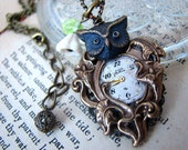 Steampunk Night Watch Owl Necklace - OOAK Upcycled Vintage Watch Dial Owl Pendant