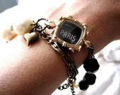 Paris Wrap Chain Bracelet in Oui, Paris or Cafe  - OOAK Vintage Reclaimed Watch Jewelry
