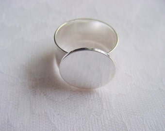 4 Ring Blanks Sterling Silver Plated Adjustable Flat Top 16mm Circle (No. ND149) Made In The USA