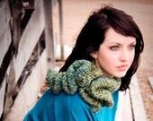 Francesca ruffle edge neck cowl scarf button closure KNIT PATTERN PDF