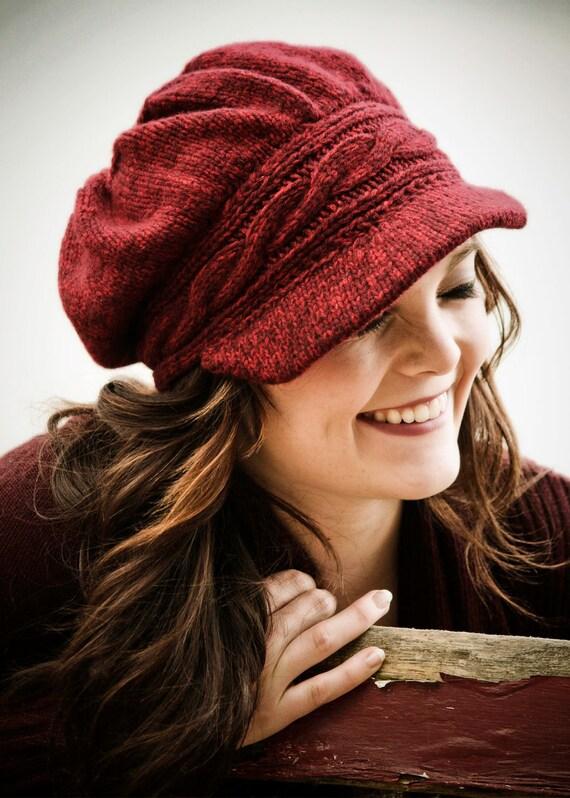 Hannah newsboy hat pattern knitting.  PDF KNIT PATTERN