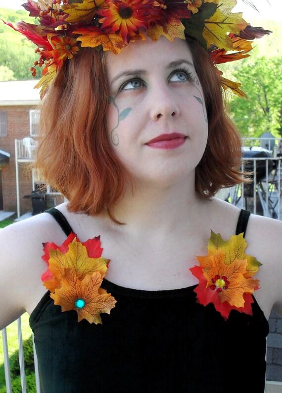 Dark Evergreen Autumn Fairy Top & Skirt w/Leaves and Beaded Fringe