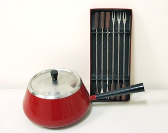 Vintage Red Fondue Pot with Forks -- Have a Party