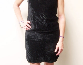Vintage Black Velvet Sheath Dress for the Holidays,Beautiful Silver Rhinestone Necklace Accent, Size Small