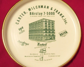 Vintage Advertising Ashtray -- Carter, Milchman and Frank, Inc. Hardware Store
