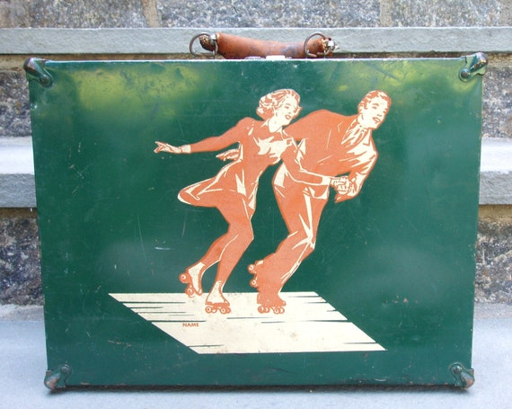 Vintage Roller Skate Box and Skates, 1930s or 1940s, Green and Gorgeous