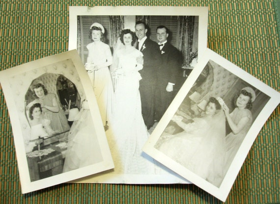 Vintage Wedding Photos, Lot of 3, 1940s