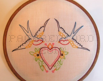 Love Birds Embroidery // Wall Hanging // Made to Order Embroidery