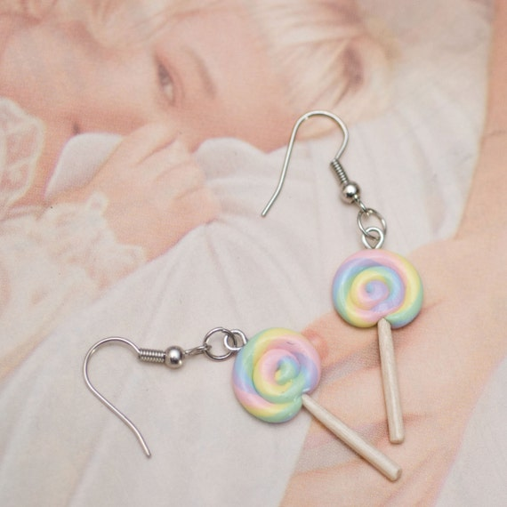 Earrings - Pastel Rainbow Sweet Shoppe Lollipops Handmade by Roscata