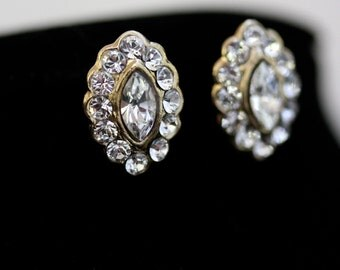 Gold Crystal Studs Small bridal Earrings Swarovski Rhinestone Earrings Wedding Jewelry Navette Crystals   MAE studs