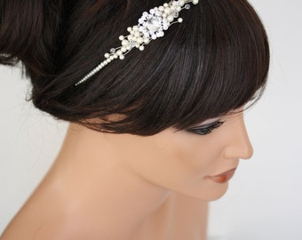 Simple Wedding headband Pearl Bridal Headband Swarovski Crystal Pearl Bridal Headpiece Wedding Hair Accessories, Mandy