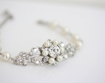 Wedding Jewelry Rhinestone Pearl Bridal Bracelet Filigree Cuff Bracelet Pearl wedding Bracelet PARIS CLASSIC BRACELET