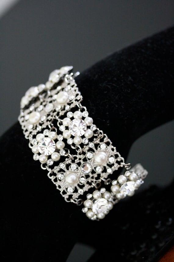 Wedding Bracelet Bridal Cuff Bracelet Swarovski Crystals and pearl Vintage Wedding Jewelry   Bridal Bracelet. PARIS CUFF